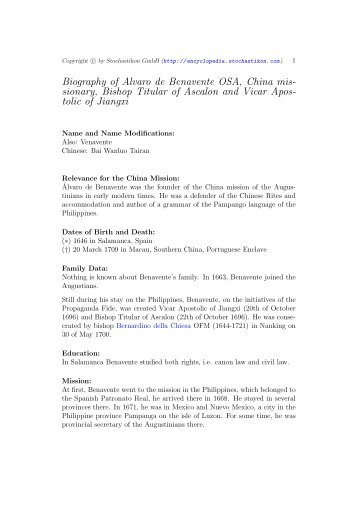Biography of Alvaro de Benavente OSA, China mis- sionary, Bishop ...