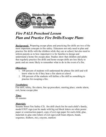 Exit drills in the home lesson plan