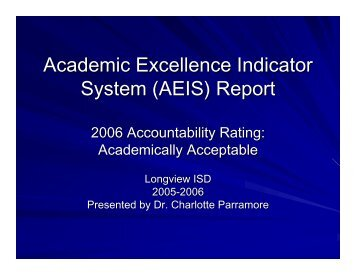 (AEIS) Report - Longview Independent School District