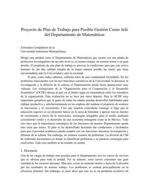 Plan de trabajo - Dr. Constancio Hernández García - CBI - UAM