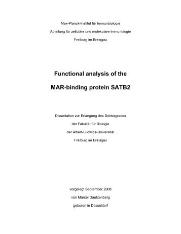 Functional analysis of the MAR-binding protein SATB2