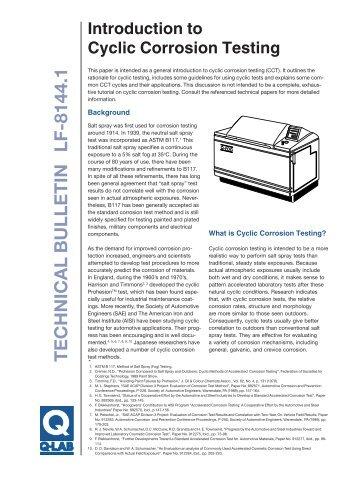 Introduction to Cyclic Corrosion Testing - Q-Lab
