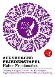 Augsburger friedenstAfel Hohes Friedensfest - Bündnis für ...