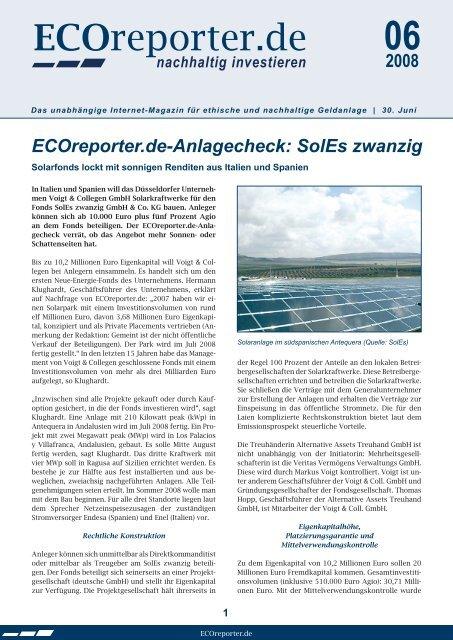 ECOreporter.de-Anlagecheck: SolEs zwanzig