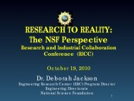 Research to Reality – the NSF Perspective