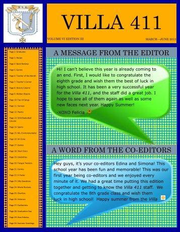 Villa 411 June 2013 - St John Villa Academy