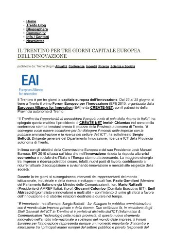 il trentino per tre giorni capitale europea dell'innovazione - Create-Net