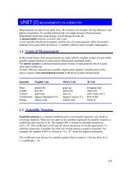unit (1) measurements in chemistry
