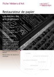 Restaurateur de papier - Institut National des Métiers d'Art