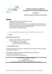 Compte-rendu de la réunion nationale du 23 avril - ANDML