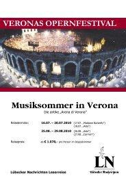 Musiksommer in Verona - LN-Hapag-Lloyd Reisebüro