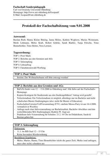 Protokoll der Fachschaft Sonderpädagogik 09.01.08