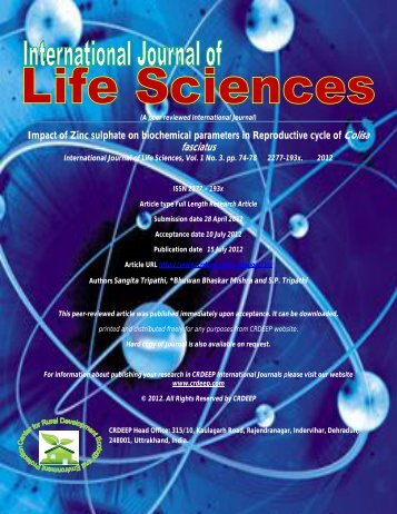 Impact of Zinc sulphate on biochemical parameters in ... - CRDEEP