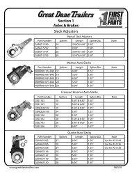 Slack Adjusters Section 1 Axles & Brakes - Great Dane Trailers