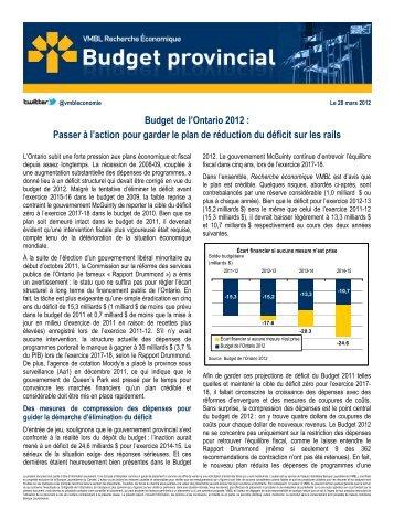 Budget de l'Ontario 2012 : Passer à l'action pour garder le ... - VMBL