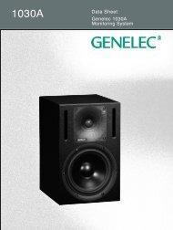 Genelec 1030A Monitoring System Data Sheet