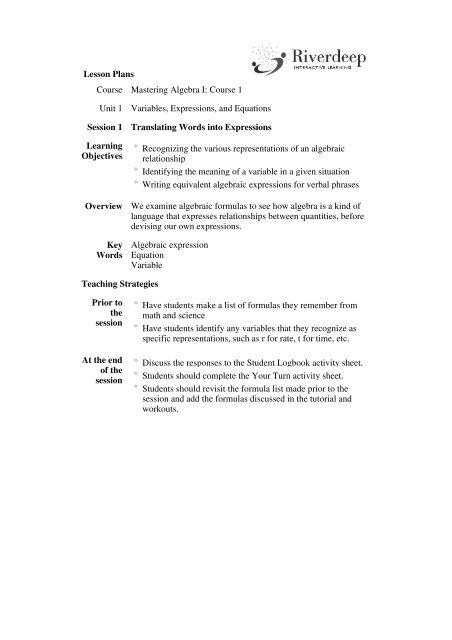 Lesson Plans Course Mastering Algebra I: Course 1 Unit 1