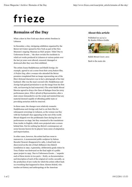 Frieze Magazine | Archive | Remains of the Day - Beirut Art Center