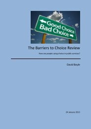The Barriers to Choice Review - Centre for Innovation in Health ...