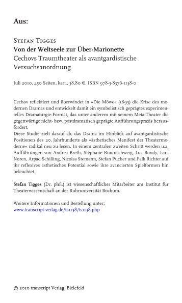 Stefan Tigges Von der Weltseele zur Über-Marionette Cechovs ...