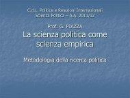 Metodologia della ricerca politica, a.a. 2011-12 - Facoltà di Scienze ...