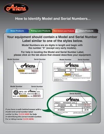 Model Serial Number - Ariens