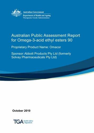 Australian Public Assessment Report for Omega-3-acid ethyl esters 90