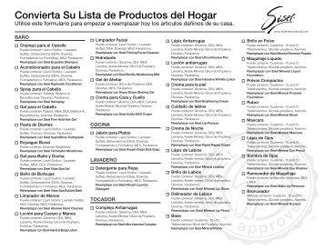 Convierta Su Lista de Productos del Hogar - SISEL International, LLC.
