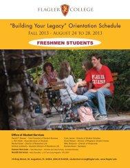 """Building Your Legacy"" Orientation Schedule - Flagler College"