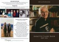 Annette Claire Baier - Tributes
