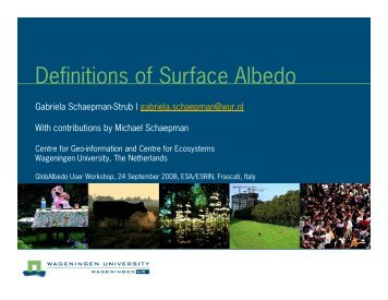 Definitions of Surface Albedo - Data User Element - ESA