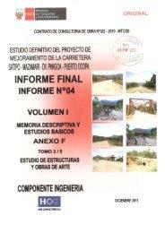 Volumen I, anexo F, estudio de estructuras y ... - Provias Nacional