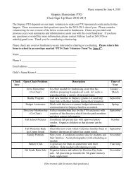 Stepney Elementary PTO Chair Sign-Up Sheet 2010-2011