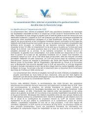 Le consentement libre, informé et préalable et la gestion forestière ...