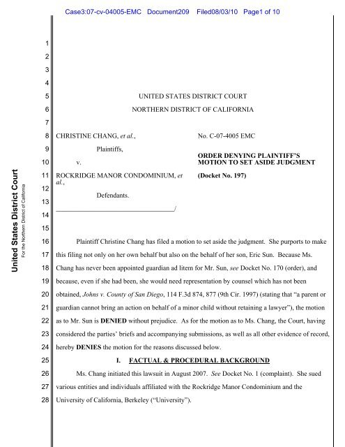 Judge Edward Chen denies motion for 60(b) relief - American