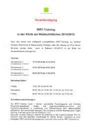 Download der Ankündigung als pdf (515 KB) - Klinik am ...
