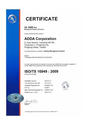 Certificate ISO/TS 16949:2009