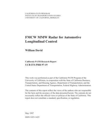 FMCW MMW Radar for Automotive Longitudinal Control William