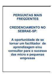 PERGUNTAS MAIS FREQÜENTES CREDENCIAMENTO ... - Sebrae