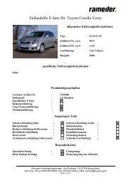 Einbauhilfe E-Satz für Toyota Corolla Verso
