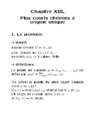 Chap^ tre XIII. Plus courts chemins a origine unique - Lita