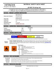 JP-K87 Printing Ink | Material Safety Data Sheet : Hitachi America, Ltd.
