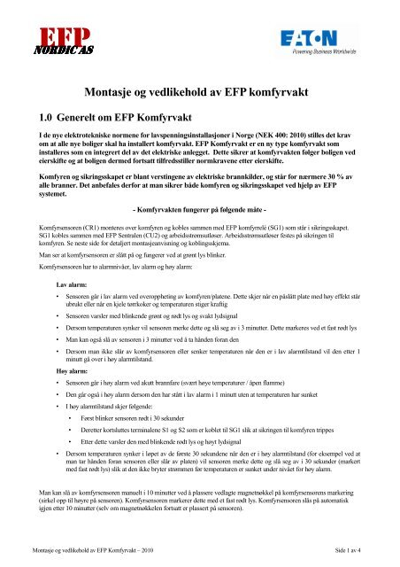 Montasje og vedlikehold av EFP systempakke Tavle og ... - Moeller