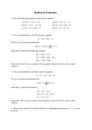 Problem Set 6 (Frobenius)