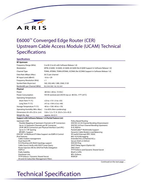 """E6000â""""¢ Converged Edge Router (CER) Upstream Cable     - Arris"""