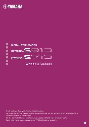 PSR-S910/S710 Owner's Manual - Yamaha