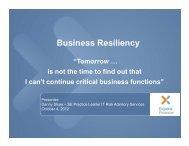Business Resiliency - IIA Dallas Chapter
