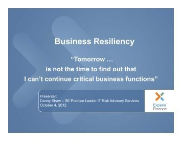 Business Resiliency - IIA Dallas Chapter