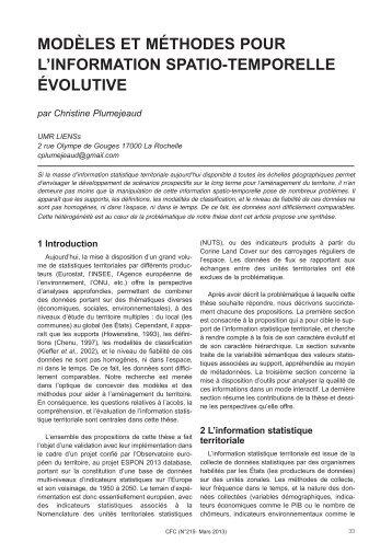 Modèles et méthodes pour l'information spatio-temporelle évolutive