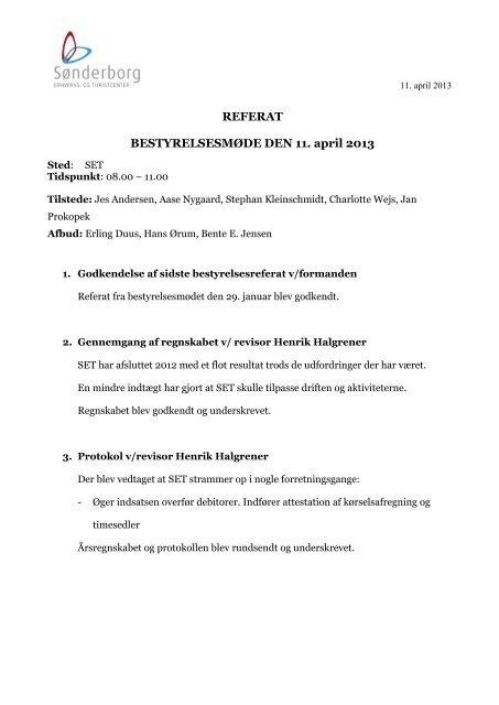 REFERAT BESTYRELSESMØDE DEN 11. april 2013